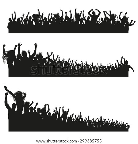 Three high Quality compositions of a mixed group of male and female young people silhouettes posing as a cheering crowd for a concert or sport event. - stock vector