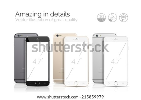 Three highly detailed new smartphone mock up for application demo. Vector illustration - stock vector