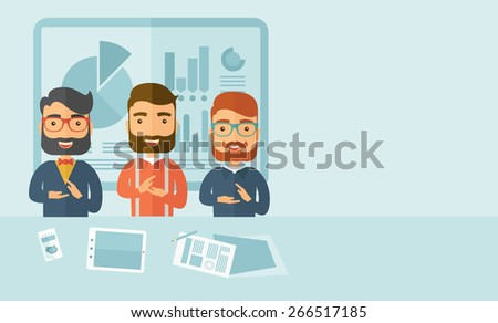 Three hipster Caucasian business men with beard happy clapping their hands for the success presentation with tablet cellphone and papers infront of them. Winner concept. A contemporary style with - stock vector