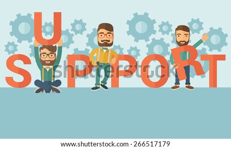 Three hipster Caucasian businessmen with beard holding a letter, it is a support message they need help from others. Teamwork concept. A contemporary style with pastel palette soft blue tinted - stock vector