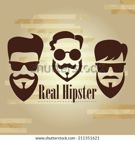 Three Hipster with glasses, mustache and beard - stock vector