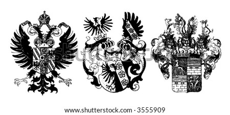 Three historical shields on white - can be used how background (vector, illustration) - stock vector
