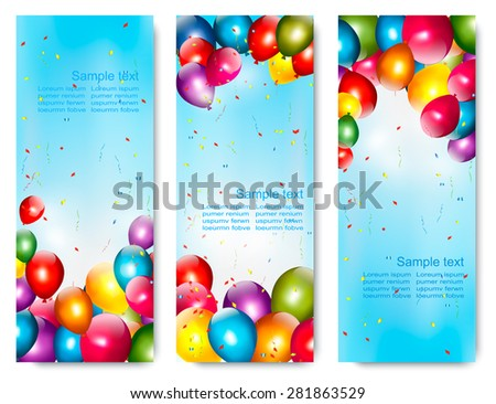 Three holiday banners with colorful balloons. Vector. - stock vector