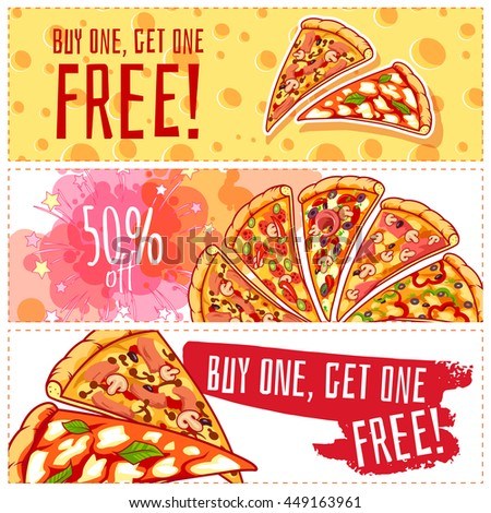 Three horizontal banners for pizzeria. Fresh and tasty pizza. Vector template flayer isolated on a white background. - stock vector