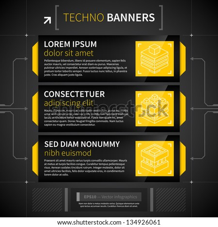 Three horizontal banners in techno style. - stock vector