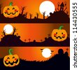 Three horizontal Halloween banners with pumpkin on a dark night - stock vector