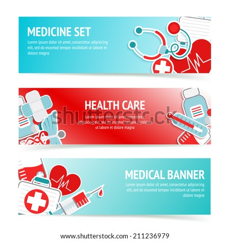 Three horizontal health care banners with medical emblems and emergency first aid kit symbols abstract vector illustration - stock vector