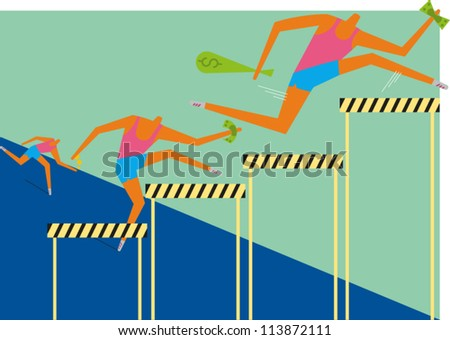 Three hurdlers holding money race along a track jumping hurdles of various height - stock vector