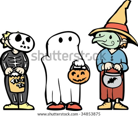 Three in dressed up in Costumes for Halloween night. - stock vector