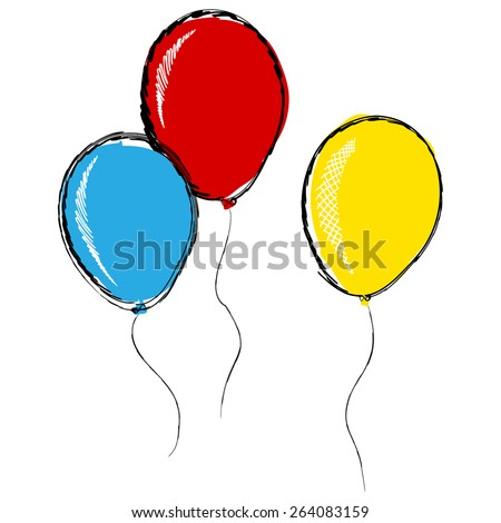 three inflatable balloons in pencil sketch style isolated on white background vector illustration