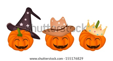 Three Jack-o-Lantern Pumpkins Wearing Witch Hat, Cowboy Hat and Golden Golden Crown Isolated on White Background, For Halloween Celebration  - stock vector