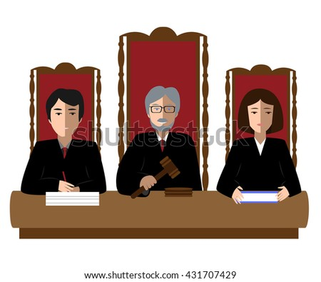 Three judges sitting at the trial table. Justice vector illustration - stock vector