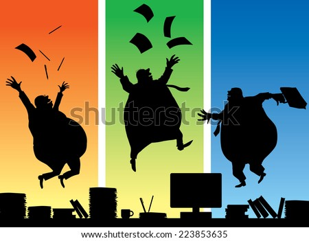 Three jumping fat businessmans. Eps8 CMYK Organized by layers Gradients free - stock vector