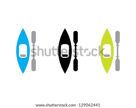 Three Kayaks in Blue, Black and Green. - stock vector