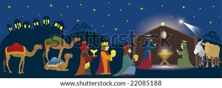 Three Kings coming to Bethlehem, nativity scene whit three magi, Jesus, Mary, Josef and animals, Biblical scene - stock vector