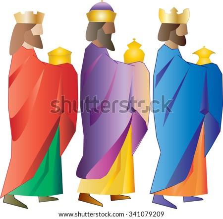 Three kings or three wise men. Christmas nativity vector illustration. - stock vector