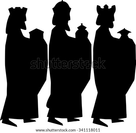 Three kings or three wise men. Christmas nativity vector illustration. - stock vector