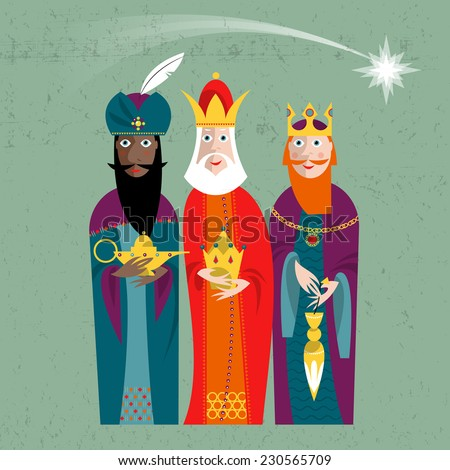 Three Kings. Three wise men.Vector illustration. - stock vector