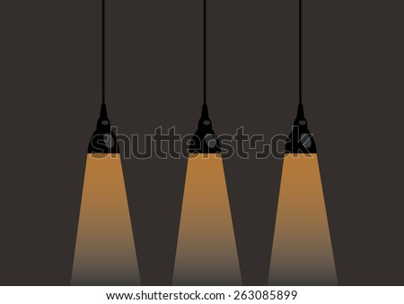 three lamps three lamps are located on the same level - stock vector