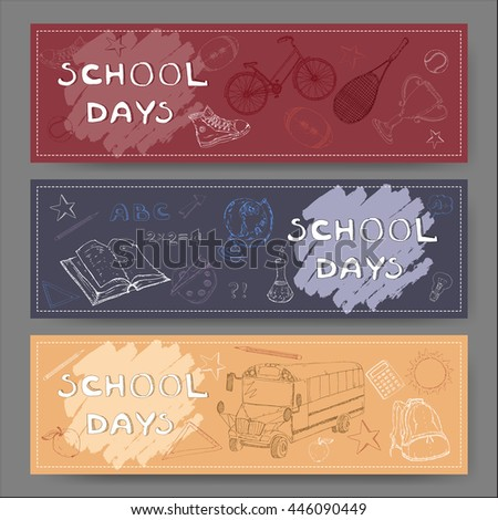 Three landscape banners with school related sketches. Features school bus, backpack, apple, stationery and more. Vector Illustration. - stock vector