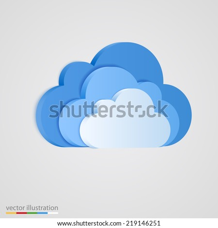 Three layer of blue clouds. Vector illustration - stock vector