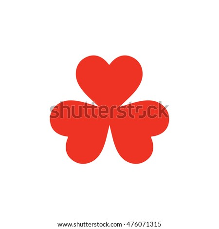Three leaf clover icon in flat style. Isolated three leaf clover icon on white background for use in variety of projects. Minimal vector three leaf clover icon for web sites and apps.