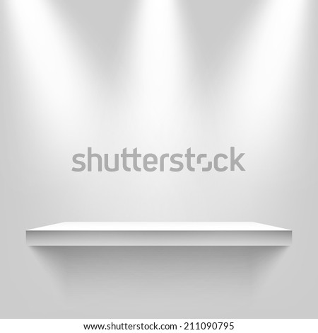 Three light sources with shelf on the wall background. Vector illustration, eps10. - stock vector