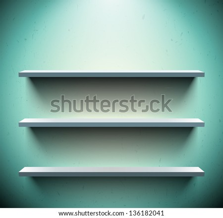 Three lightened shelves on old blue wall - stock vector