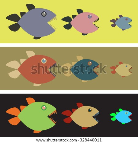 Three lines with three colored fishes in a line. In each row fish sizes are from big to small.Motion design,clip art vector,fish vector,fish clip art,fishes vector
