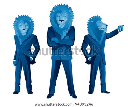 Three lion businessmen mascots in different poses - stock vector