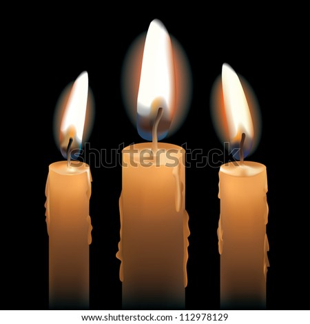 Three Lit Candles isolated on black. AI 10 .eps has radial blends and gradient mesh objects. - stock vector