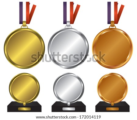 Three medals for the winners - stock vector