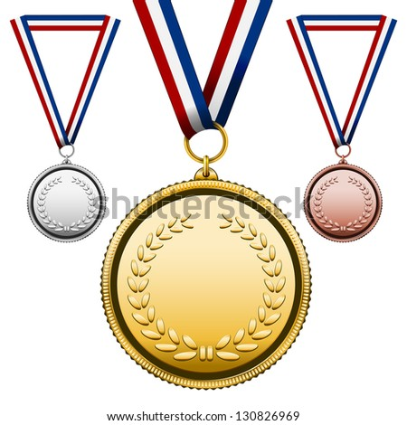 Three Medals Gold Silver bronze with blank face isolated on white. Vector Illustration