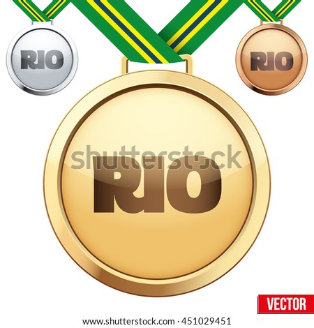 Three Medals with tag of Rio. Gold, Silver and Bronze. Vector Illustration isolated on white background. Rio Summer Games 2016. - stock vector
