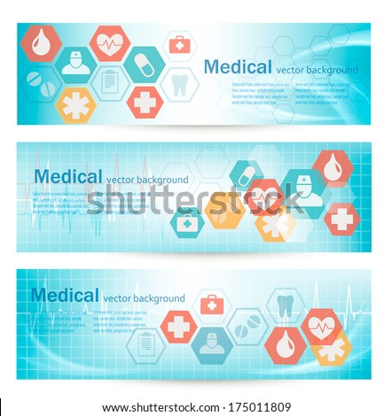 Three medical banners with icons. Vector. - stock vector