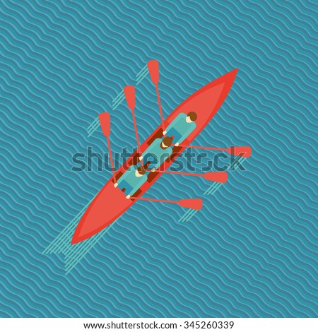 Three men in a boat. Top view of a canoe on water. Flat style illustration. - stock vector