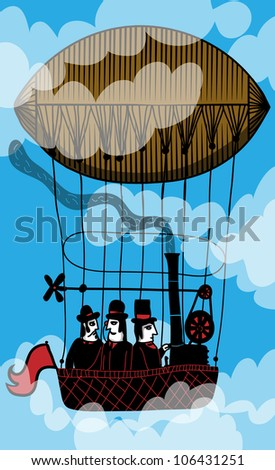 three men in hot air balloon - stock vector
