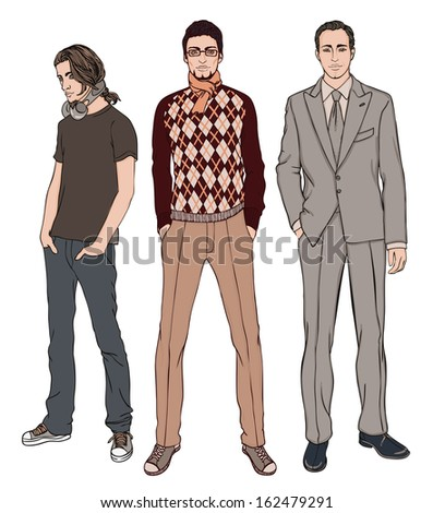 Three men of different ages, vector illustration set  - stock vector