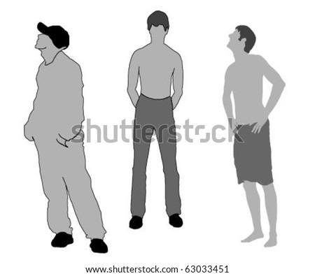 three men silhouette - stock vector
