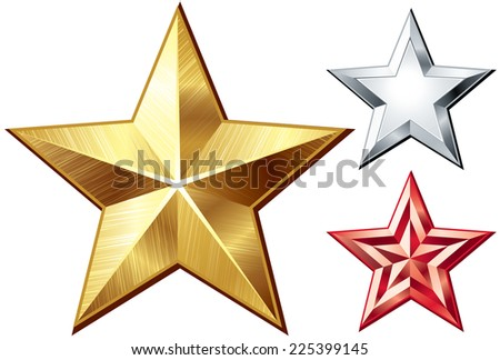 Three metal five-finger stars isolated on white. Eps8. CMYK. Organized by layers. Global colors. Gradients used. - stock vector