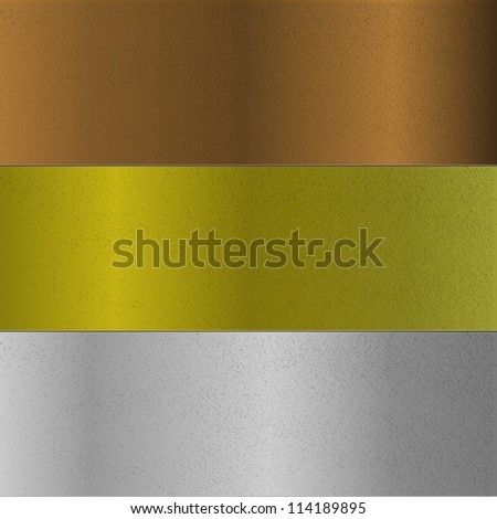 Three metals surface of bronze, gold and silver - stock vector
