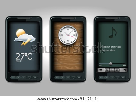 three mobile icon - stock vector