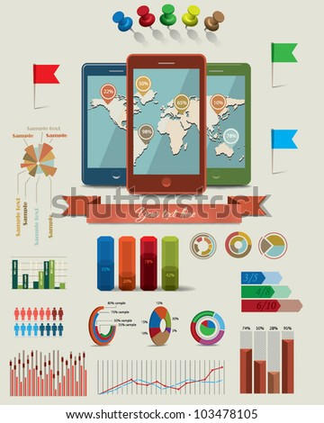 Three mobile phones with world map.Info graphic elements 2 - stock vector