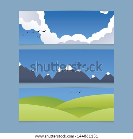 Three modern design banners with landscape illustration. Sky, mountains and hills. Backgrounds with space for your content. - stock vector