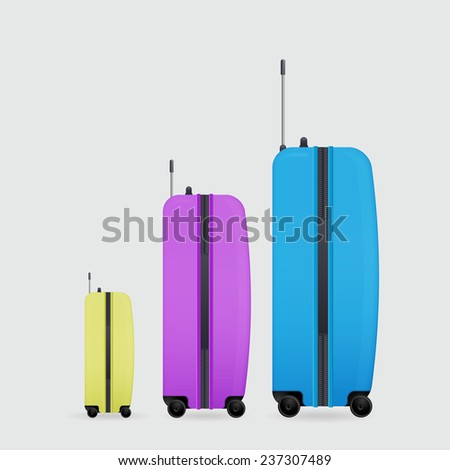 three modern suitcases on wheels female, man's, children's - stock vector