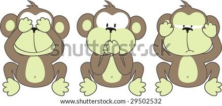 three monkeys saying, See No Evil, Speak No Evil, Hear No Evil - stock vector