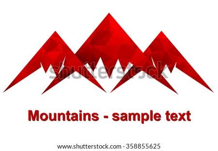 three mountains vector icon. Outdoor icon. Usable for company logo. - stock vector
