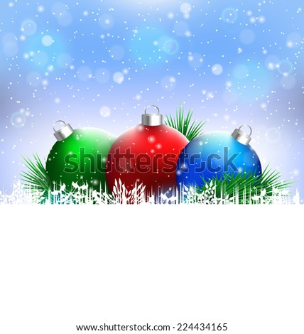 Three multicolored Christmas balls with pine branches and blank white space in snowfall on blue background - stock vector