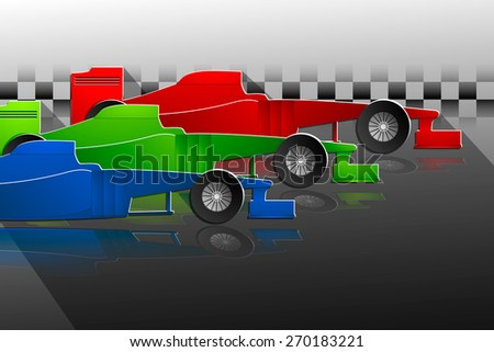 three multicolored sports racing car background. Vector - stock vector