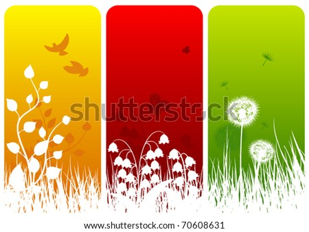 Three nature related background designs - stock vector